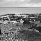 Lone Man Walking Along Pebble Beach by Natalie Kinnear