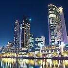 Melbourne South Wharf at night by Llewellyn Cass