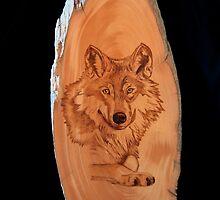 Pyrography of a Wolf by aussiebushstick