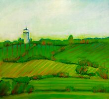 Fields in Greens and Blues, mixed media on canvas by Sandrine Pelissier