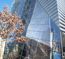 Reflection of New World Trade Center As Seen At 9/11 Memorial New York  by lenspiro