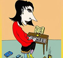 Kate Bush Piano Cartoon by Grant Wilson