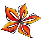 Fun & Funky Tropical Orange Star Flower PoP Art by MADART by MADARTDesigns