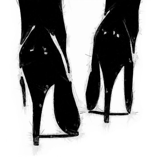 A Highly Erotic Drawing of Fashionable High Heel Shoes from Behind by StudioDestruct