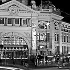 Flinders Station at night by Simon Penrose