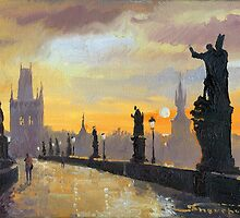 Prague Charles Bridge 01 by Yuriy Shevchuk