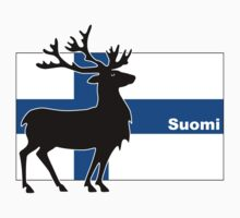 Suomi: Finnish flag and reindeer Sticker by Anny Arden