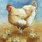 Hen and Chicks by Lynne  M Kirby BA(Hons)