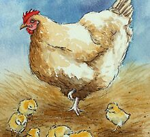 Hen and Chicks by Lynne  Kirby