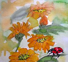Orange Flower Ladybug by TrixiJahn