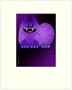 PAISLEY CAT  (card) by peter chebatte