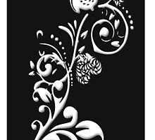 Owl on a Branch I phone Case (White on Black) (1733 Views) by aldona