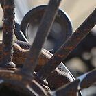 Old rusty farm rake  by HanieBCreations