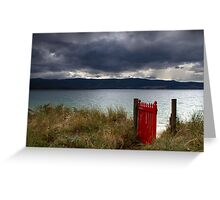 Beyond the red gate - Bruny Island, Tasmania Greeting Card