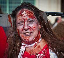 Zombie Walk Knife in Head by andykazie