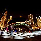 White checkered light by Chicago's Cloudgate by Sven Brogren