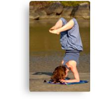 Yoga on Palolem Beach Canvas Print