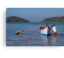 Pushing the Boat out Palolem Canvas Print