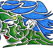 Face in Blues and Greens - Fun Shapes by martaharvey