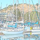 Blue Sail Boats w/ Sketch & Reflections by HanieBCreations