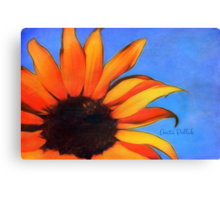 Painted Sunflower with Bee Canvas Print