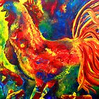 Colorful Rooster and Baby Chick by Claire Bull