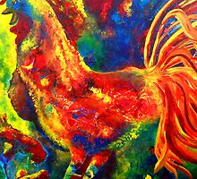Colorful Rooster and Baby Chick by ClaireBull