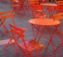 Red Chairs, Times Square, New York City by KC Man