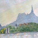 Mont Saint Michel, morning shadows by HurstPainters