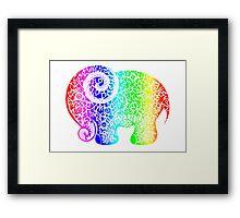Rainbow Elephant Doodle Framed Print