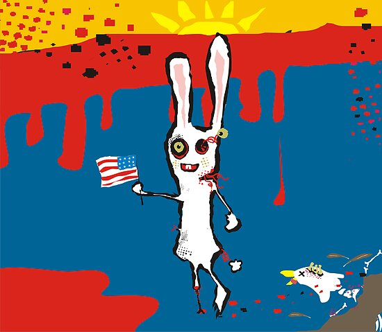 zombie bunny rabbit eagle brains july calendar by BigMRanch