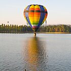 Balloon on Lake Burley Griffin with swans by Tony Theobald