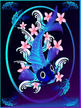 Blue Koi-Pink Flowers Oval Poster by Lotacats