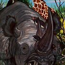 Black Rhino Eating Brambles by Jedro