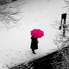 One wild pink umbrella about to jump over the river... by Sinuhé Bravo Photography