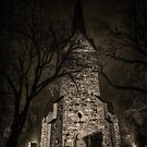 Skedsmo church at night by Erik Brede