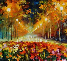 ALLEY OF ROSES - LEONID AFREMOV by Leonid  Afremov