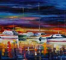YACHT CLUB AT NIGHT - LEONID AFREMOV by Leonid  Afremov