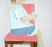 Seated Girl - Acrylic on Canvas by Loreen Finn
