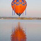 Balloon over Lake Burley Griffin with reflection by Tony Theobald