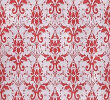 Red and White Damask Pattern by A1RB