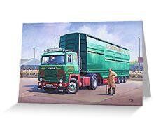 Scania livestock wagon. Greeting Card
