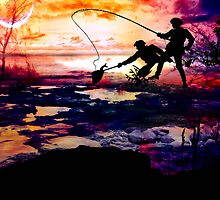 FISHING AND BONDING AT DUSK by Tammera