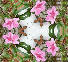 Pink Azaleas 1E kaleidoscope 7 by Christopher Johnson