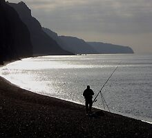 Fisherman angling on beach  by nick pautrat
