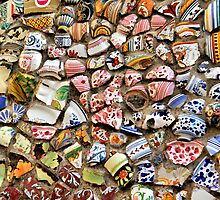 Pottery Bits in a Wall-Durata, Italy by Deborah Downes