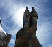 Blue Sky day on Gaudi's rooftop by KarenJI1962