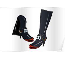 Black Boots Cartoon Poster