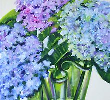 Hydrangeas in Green Glass by marlene veronique holdsworth