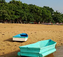 colorful boats at sanur by Michael Brewer